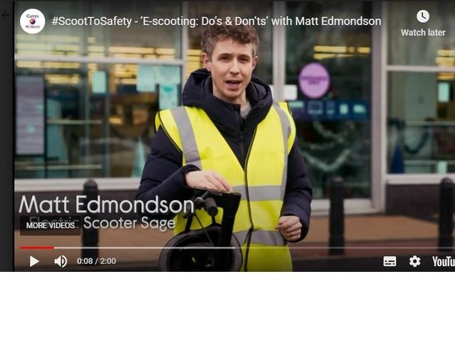 Radio One DJ Matt Edmondson in the new Currys PC World e-scooter safety campaign video