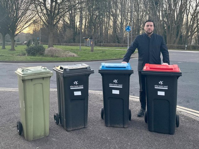 Council leader Pete Marland with the four different wheelie bins