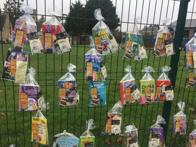 Children are loving the 'book fence' at Lavendon School