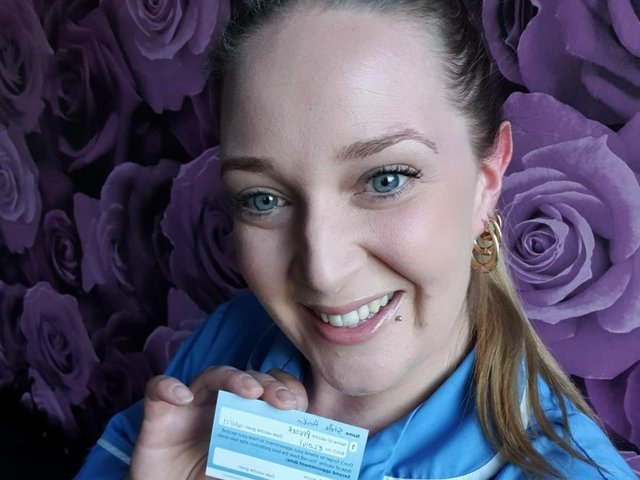 Stella, was the 50th member of the Bluebird care staff to receive a vaccination protecting against Covid