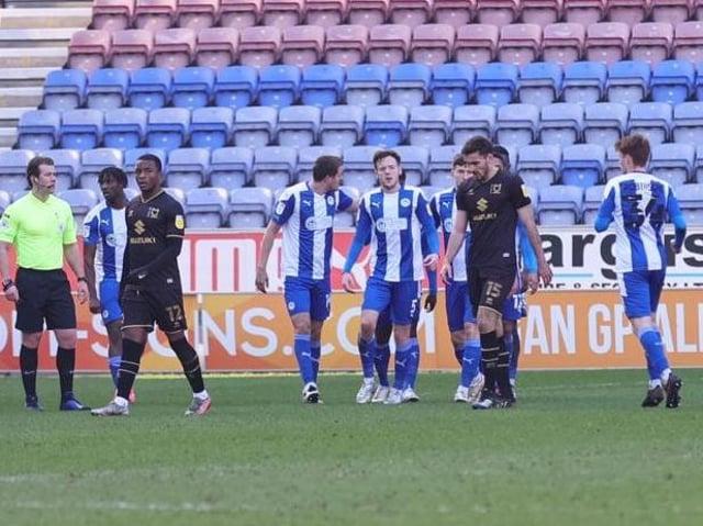 Wigan celebrate scoring against MK Dons