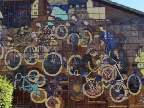 A close up of part of Bicycle Mural