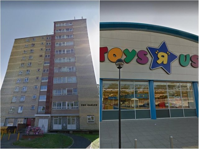 The Gables and Toys 'R' Us have been named among the nine buildings Milton Keynes people want to see levelled.