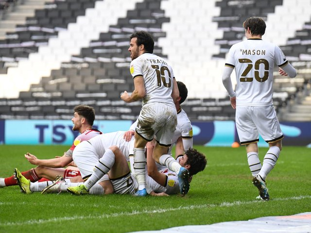 MK Dons celebrate victory over Accrington