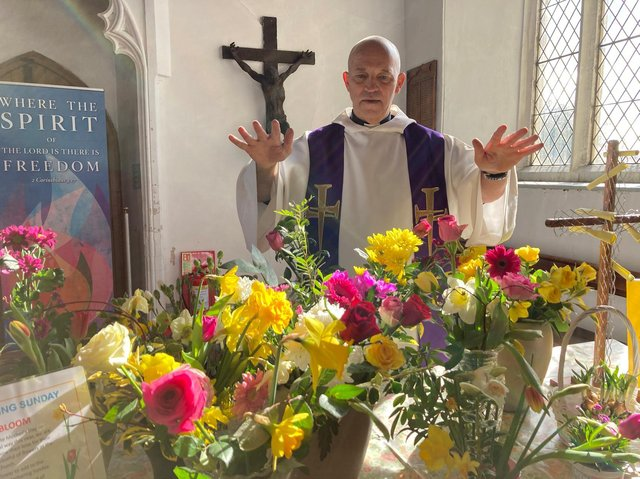 Rev Nick Evans blessed the blooms