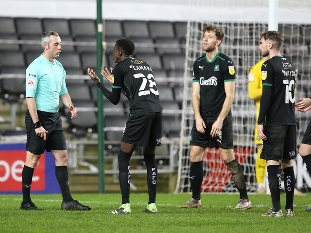 Plymouth protest the late penalty decision from Sebastian Stockbridge
