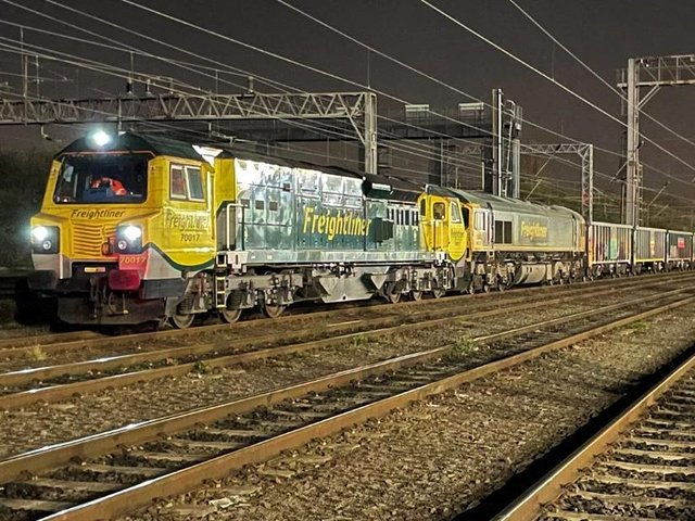 Two locos hauled the massive 'jumbo train' through Milton Keynes during the early hours of Thursday morning