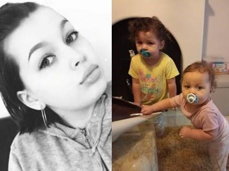 Skye Dorman, 20, from Milton Keynes, and her two children Lola, aged 2 and Sapphire-Bleu aged 1