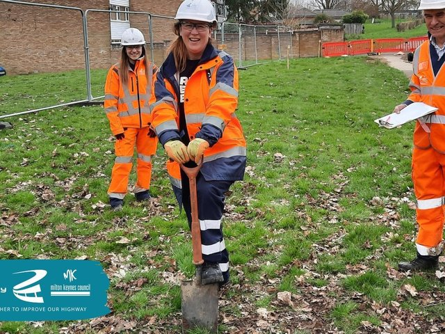 Councillor Emily Darlington cuts the turf at the new redway site.