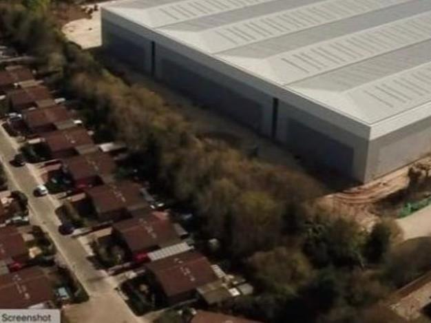 A resident's drone image of the giant warehouse