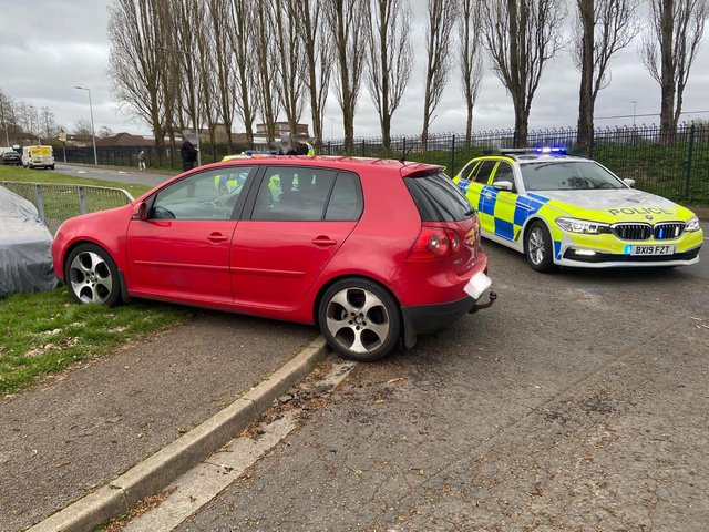 This vehicle crashed trying to escape arrest in Milton Keynes on March 29