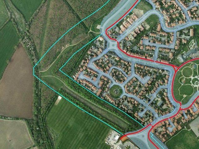 This map shows how close the new road will be to homes on Grange Farm