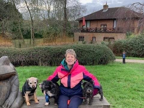 Home Instead caregiver Helen Hayward during her sponsored dog walk.