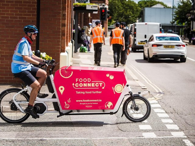 The food is delivered by e-bike