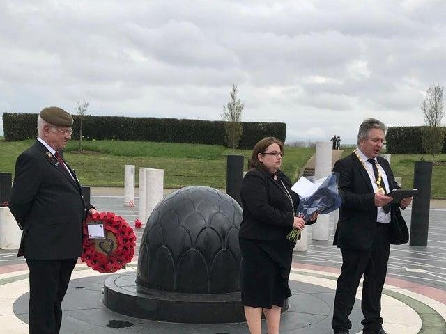 Milton Keynes Mayor, Councillor Andrew Geary, paying tribute to Prince Philip at MK Rose on the day his passing was announced April 9