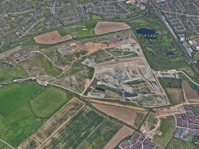 Bletchley Landfill is next to the Blue Lagoon (Google)