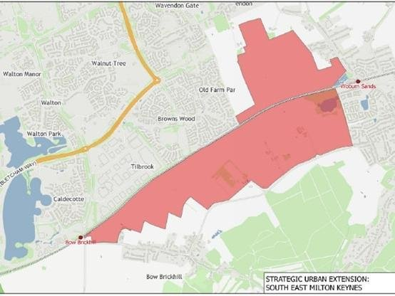 The area of the South East MK Strategic Urban Extension (MK Council)