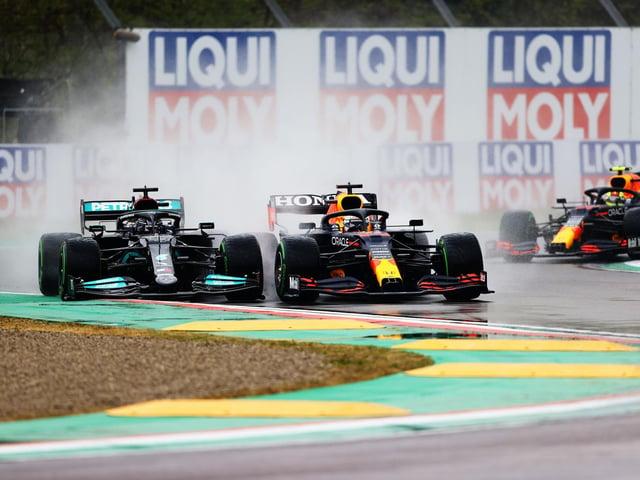 Lewis Hamilton battles with Max Verstappen at Imola