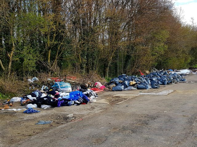 The rubbish awaiting collection by the council