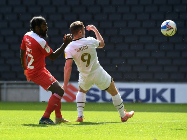 Will Grigg netted his first after 15 minutes at Stadium MK on Saturday