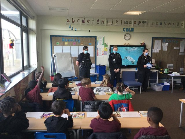 Thames Valley Police officers in Brooklands Farm Primary School