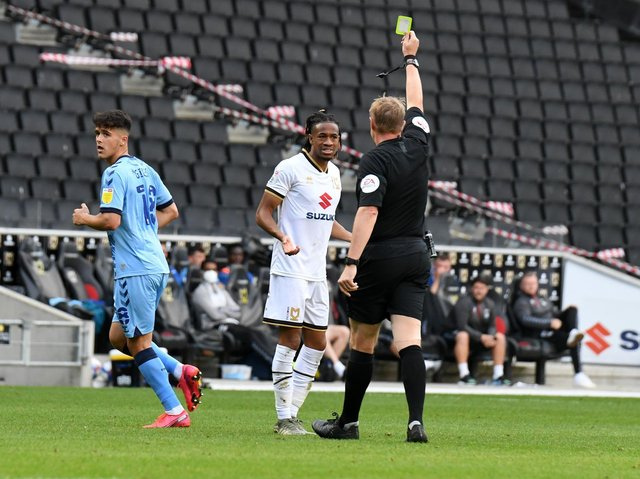 David Kasumu's first booking came in the season opener against Coventry