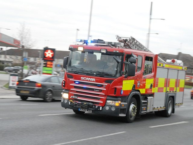 Firefighters cordoned off a Milton Keynes estate on May 4, following a car crash