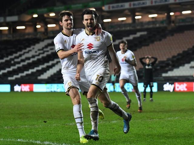Scott Fraser celebrates his goal against Plymouth