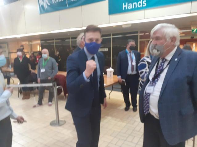Tory leader Alex Walker celebrates with a fist pump