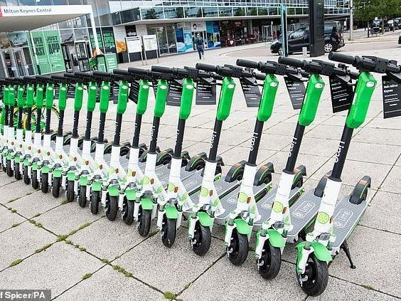 e-scooters waiting to be hired in MK