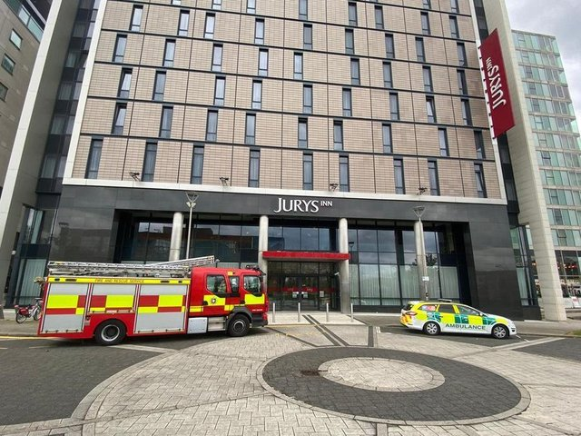 Emergency services started gathered outside Jury's Inn at 1pm