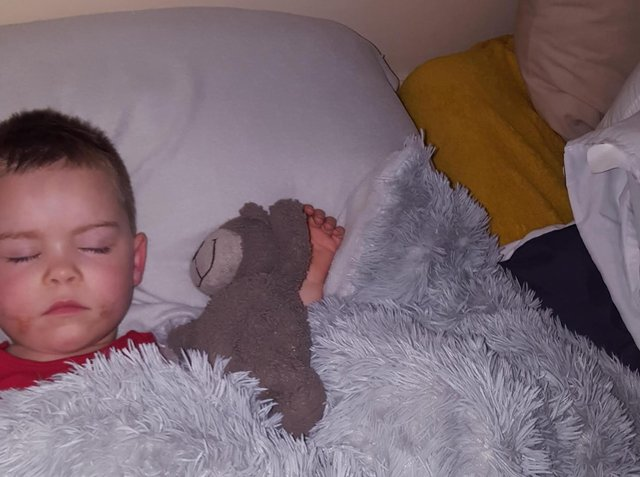 George-Junior can't sleep without Mr Bear