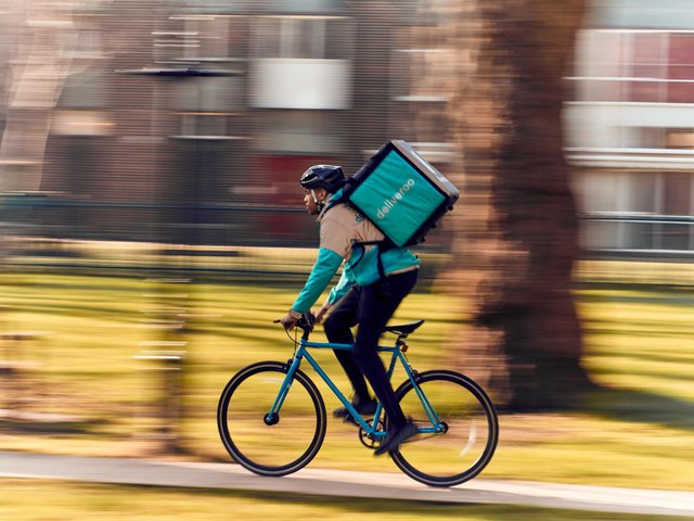 A deliveroo driver in action in Buckinghamshire
