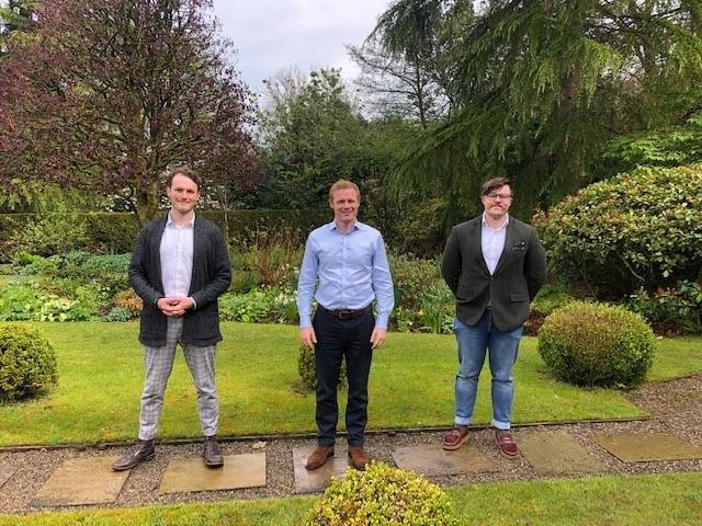 Jack Hanson (left), Patrick Godden (right) and MP Robbie Moore