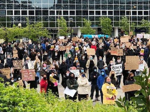 Black Lives Matter protest in Milton Keynes on June 6 2020