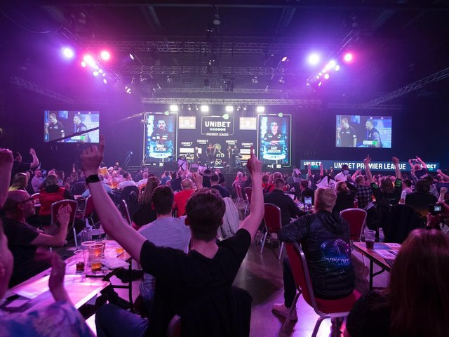 Fans returned to the Marshall Arena on Monday night. Pic: Lawrence Lustig/PDC