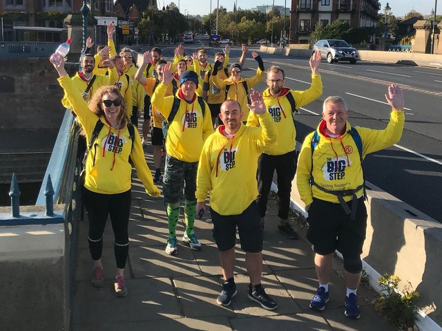 The Big Step group are walking through MK on Saturday on their way from Scotland to Wembley