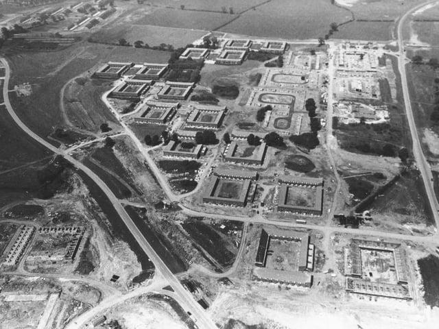 An aerial shot of early Milton Keynes