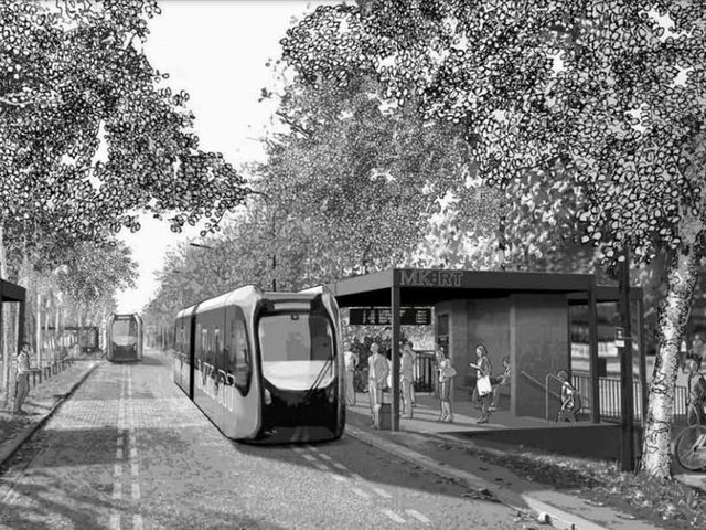 A network of guided buses - called a mass rapid transport system - is among the plans for growing MK up to 2050 (Artist's impression MK Council)