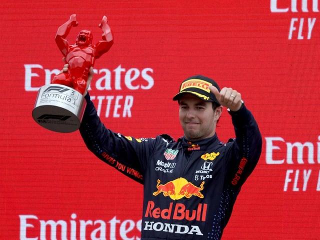 Sergio Perez on the podium in France