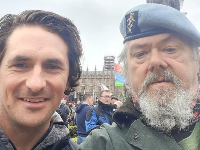 Veteran Terry Baines, right, with former defence minister Johnny Mercer