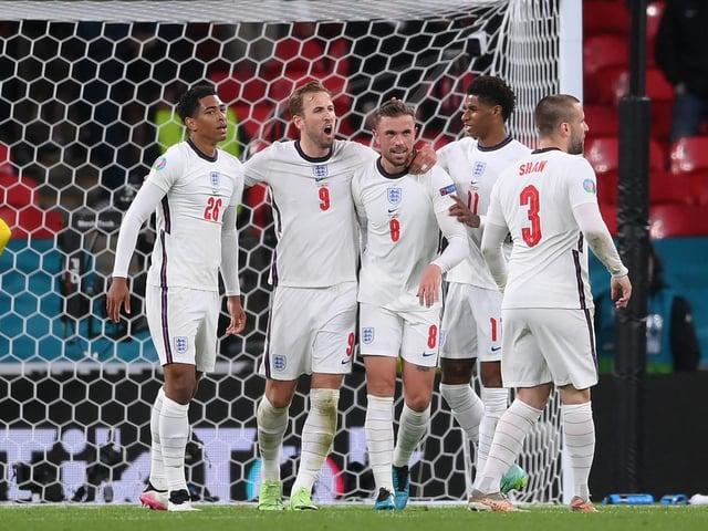 England celebrate their win over Czech Republic