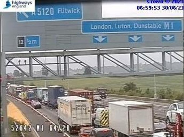 HIghways England jamcams showed traffic crawling on the M1 at junction 12 at 7am