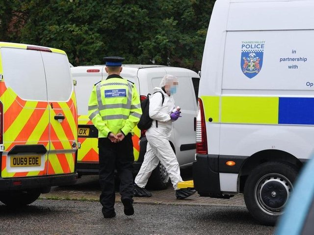 Police at the scene of the shooting photo by Jane Russell