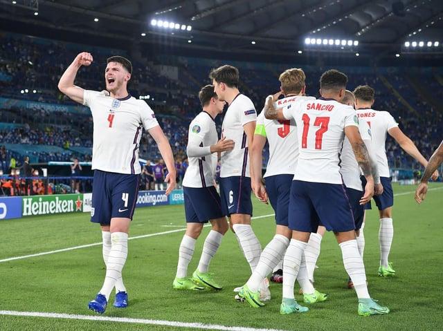 England celebrate scoring against Ukraine